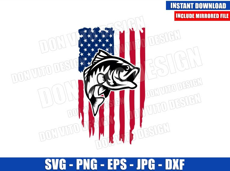 Fishing Distressed USA Flag (SVG dxf png) American United States Fish Cut File Cricut Silhouette Vector Clipart - Don Vito Design Store
