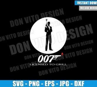 007 Licensed to Grill (SVG dxf png) BBQ James Bond Gun Fire Logo Cut File Cricut Silhouette Vector Clipart - Don Vito Design Store