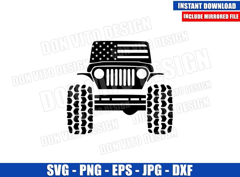 Jeep USA Flag (SVG dxf png) American Patriotic United States Car Cut File Cricut Silhouette Vector Clipart - Don Vito Design Store