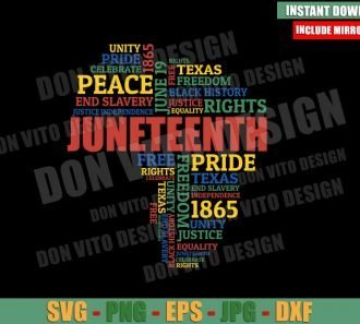 Juneteenth Africa Map Words (SVG dxf png) African American Pride Cut File Cricut Silhouette Vector Clipart - Don Vito Design Store