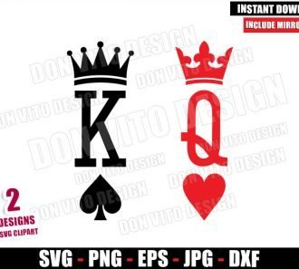 King of Spades Queen of Hearts (SVG dxf png) Royal Playing Cards Cut File Cricut Silhouette Vector Clipart - Don Vito Design Store