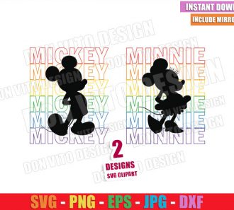 Mickey Minnie Silhouette Rainbow (SVG dxf png) Disney Mouse LGBT Colors Cut File Cricut Vector Clipart - Don Vito Design Store