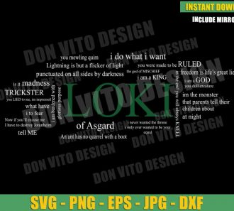 Loki of Asgard Best Quotes (SVG dxf png) God of Mischief Disney Tv Series Cut File Cricut Silhouette Vector Clipart - Don Vito Design Store