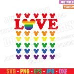 Love Mickey Head Gay Colors (SVG dxf png) Disney Mouse Ears LGTB Flag Cut File Cricut Silhouette Vector Clipart Design Gay Pride svg