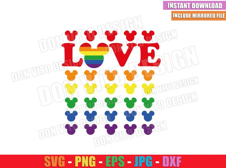 Love Mickey Head Gay Colors (SVG dxf png) Disney Mouse Ears LGTB Flag Cut File Cricut Silhouette Vector Clipart - Don Vito Design Store
