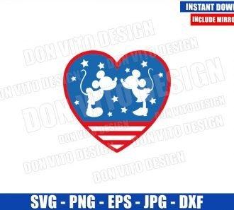 Disney Love USA Heart (SVG dxf png) Mickey Minnie America Kissing Cut File Cricut Silhouette Vector Clipart - Don Vito Design Store