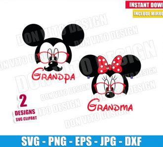 Mickey Grandpa Minnie Grandma (SVG dxf png) Mouse Couple Sunglasses Cut File Cricut Silhouette Vector Clipart - Don Vito Design Store