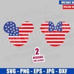 Mickey Minnie USA Flag Head (SVG dxf png) United States Cut File Cricut Silhouette Vector Clipart T-Shirt Design Disney 4th of July svg