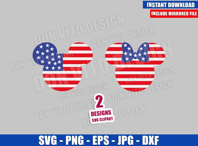 Mickey Minnie USA Flag Head (SVG dxf png) United States Cut File Cricut Silhouette Vector Clipart - Don Vito Design Store