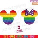 Mickey Minnie LGTB Head (SVG dxf png) Disney Mouse Ears Bow Rainbow Cut File Cricut Silhouette Vector Clipart Design Gay Pride svg