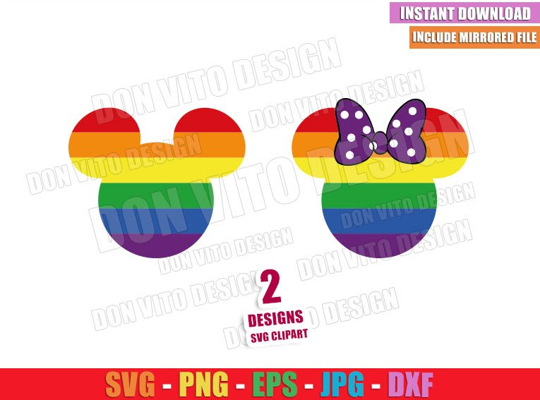 Mickey Minnie LGTB Head (SVG dxf png) Disney Mouse Ears Bow Rainbow Cut File Cricut Silhouette Vector Clipart - Don Vito Design Store