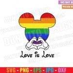 Mickey Love Is Love LGBT (SVG dxf png) Disney Mouse Head Hands Heart Cut File Cricut Silhouette Vector Clipart Design Gay Pride svg
