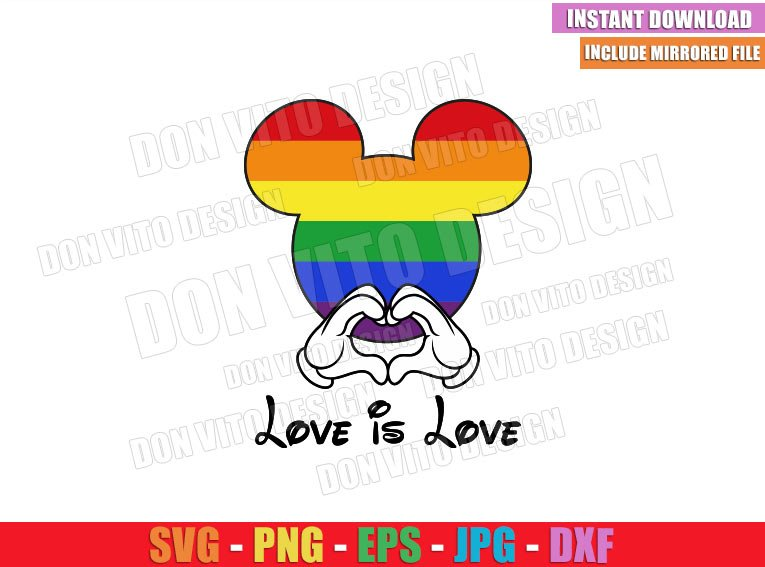 Mickey Love Is Love LGBT (SVG dxf png) Disney Mouse Head Hands Heart Cut File Cricut Silhouette Vector Clipart - Don Vito Design Store
