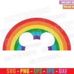 Mickey Mouse Rainbow (SVG dxf png) Disney Head Ears LGTB Colors Cut File Cricut Silhouette Vector Clipart Design Gay Pride svg