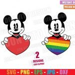 Mickey Mouse holding Heart (SVG dxf png) Love is Love Disney LGTB Cut File Cricut Silhouette Vector Clipart 2 Designs Gay Pride svg