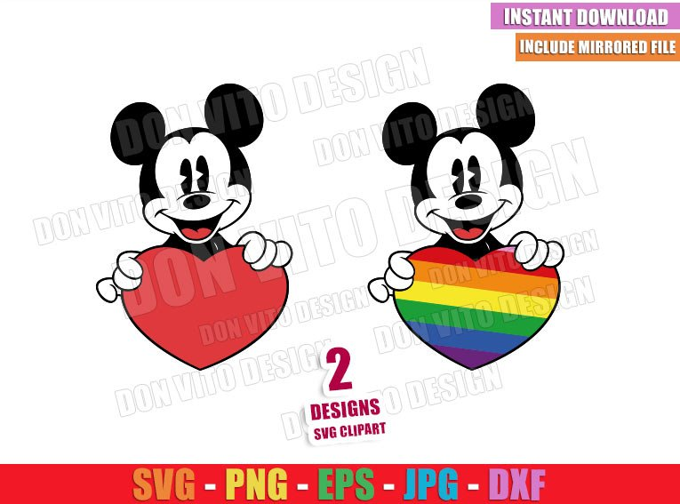 Mickey Mouse holding Heart (SVG dxf png) Love is Love Disney LGTB Cut File Cricut Silhouette Vector Clipart - Don Vito Design Store