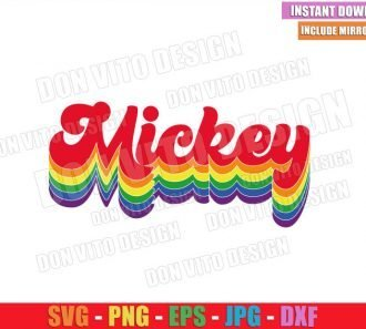Mickey Name Rainbow Colors (SVG dxf png) Gay Disney Mouse Cut File Cricut Silhouette Vector Clipart - Don Vito Design Store