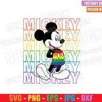 Mickey Mouse Rainbow Pants (SVG dxf png) Disney LGBT Colors Cut File Cricut Silhouette Vector Clipart T-Shirt Design Gay Pride svg