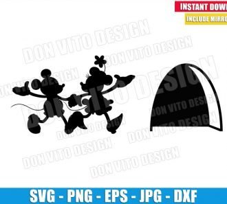 Mickey and Minnie Mouse Hole (SVG dxf png) Disney Couple Cut File Cricut Silhouette Vector Clipart - Don Vito Design Store