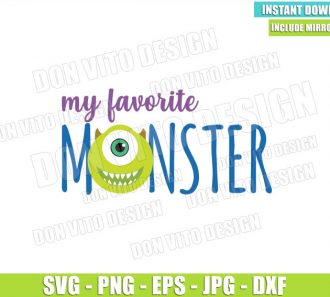 My Favorite Monster Mike (SVG dxf png) Monster Inc Head Cut File Cricut Silhouette Vector Clipart - Don Vito Design Store