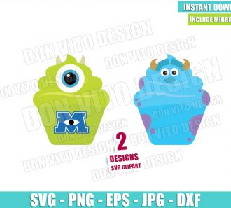Mike and Sulley Disney Cupcakes (SVG dxf png) Monster Inc Dessert Cut File Cricut Silhouette Vector Clipart - Don Vito Design Store
