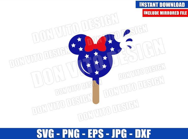 Minnie USA Ice Cream (SVG dxf png) United States Snack Ears Cut File Cricut Silhouette Vector Clipart - Don Vito Design Store