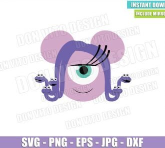 Celia Minnie Mouse Ears (SVG dxf png) Monster Inc Head Hair Snakes Cut File Cricut Silhouette Vector Clipart - Don Vito Design Store