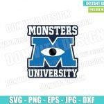 Monsters University Logo (SVG dxf png) Monster Inc School Cut File Cricut Silhouette Vector Clipart T-Shirt Design Disney Movie svg