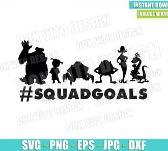 Monster Inc Squadgoals Silhouettes (SVG dxf png) Mike Sulley Boo Randall Celia Cut File Cricut Vector Clipart - Don Vito Design Store