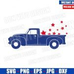 Patriotic Old Truck with Stars (SVG dxf png) USA Vintage America Car Cut File Cricut Silhouette Vector Clipart Design 4th of July svg