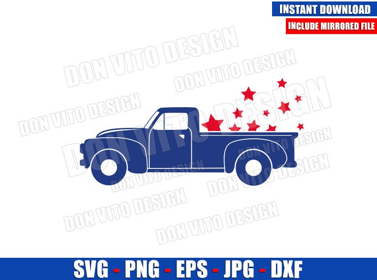 Patriotic Old Truck with Stars (SVG dxf png) USA Vintage America Car Cut File Cricut Silhouette Vector Clipart - Don Vito Design Store