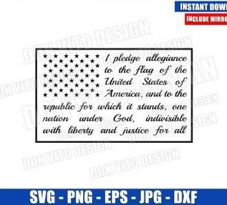 Pledge Of Allegiance Flag (SVG dxf png) United States America Patriotic Cut File Cricut Silhouette Vector Clipart - Don Vito Design Store