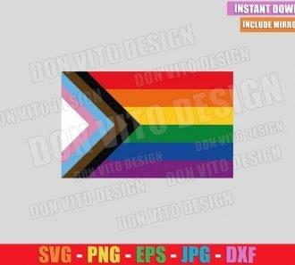LGBTQ Progress Pride Flag (SVG dxf png) New Gay Rainbow Flags Cut File Cricut Silhouette Vector Clipart - Don Vito Design Store
