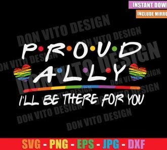 Proud Ally Friends Logo (SVG dxf png) Support Gay LGBT Heart Rainbow Cut File Cricut Silhouette Vector Clipart - Don Vito Design Store