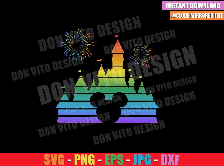 Rainbow Disney Castle with Fireworks (SVG dxf png) Mickey Ears LGTB Cut File Cricut Silhouette Vector Clipart - Don Vito Design Store