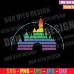 Rainbow Disney Castle (SVG dxf png) Disneyland LGTB Flag Colors Cut File Cricut Silhouette Vector Clipart T-Shirt Design Gay Pride svg