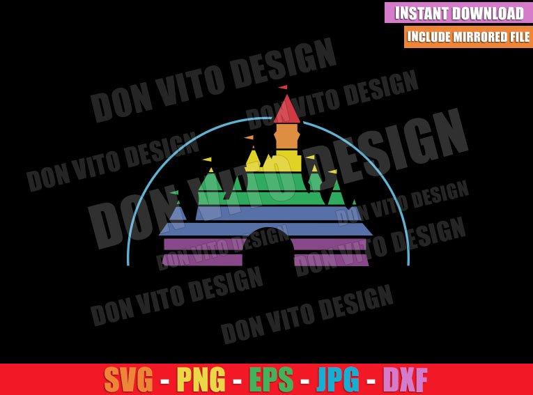 Rainbow Disney Castle (SVG dxf png) Disneyland LGTB Flag Colors Cut File Cricut Silhouette Vector Clipart - Don Vito Design Store
