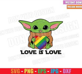 Baby Yoda Love is Love (SVG dxf png) Star Wars Heart LGBT Colors Cut File Cricut Silhouette Vector Clipart - Don Vito Design Store
