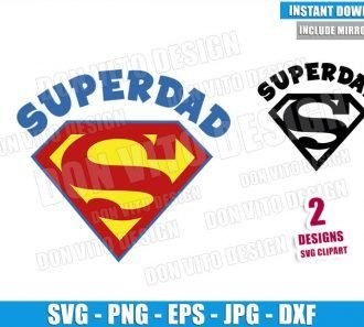 Superdad Logo (SVG dxf png) Daddy Superman Symbol Dad Cut File Cricut Silhouette Vector Clipart - Don Vito Design Store