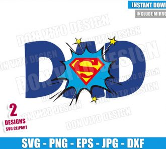 Superman Dad Word Boom (SVG dxf png) Daddy Superhero Logo Cut File Cricut Silhouette Vector Clipart - Don Vito Design Store