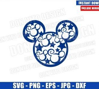 Swirly Mickey Head Stars (SVG dxf png) USA America Patriotic Cut File Cricut Silhouette Vector Clipart - Don Vito Design Store