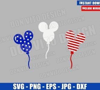 Mickey Head Patriotic Balloons (SVG dxf png) USA Flag America Cut File Cricut Silhouette Vector Clipart - Don Vito Design Store