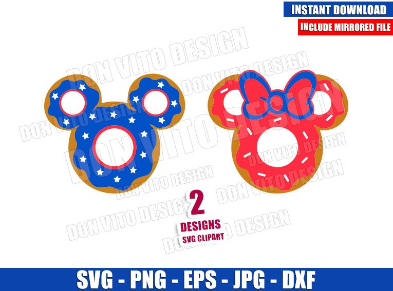 Mickey Minnie USA Donuts (SVG dxf png) Independence Day Food Cut File Cricut Silhouette Vector Clipart - Don Vito Design Store