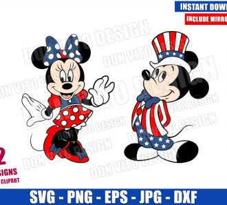 Mickey Minnie Patriotic Costumes (SVG dxf png) USA Independence Day Cut File Cricut Silhouette Vector Clipart - Don Vito Design Store