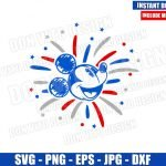Mickey USA Fireworks Head (SVG dxf png) Independence Day Cut File Cricut Silhouette Vector Clipart T-shirt Design Disney 4th of July svg