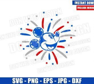 Mickey USA Fireworks Head (SVG dxf png) Independence Day Cut File Cricut Silhouette Vector Clipart - Don Vito Design Store