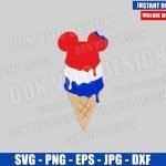 USA Mickey Ice Cream Cone (SVG dxf png) American Flag Snack Cut File Cricut Silhouette Vector Clipart Design Disney 4th of July svg