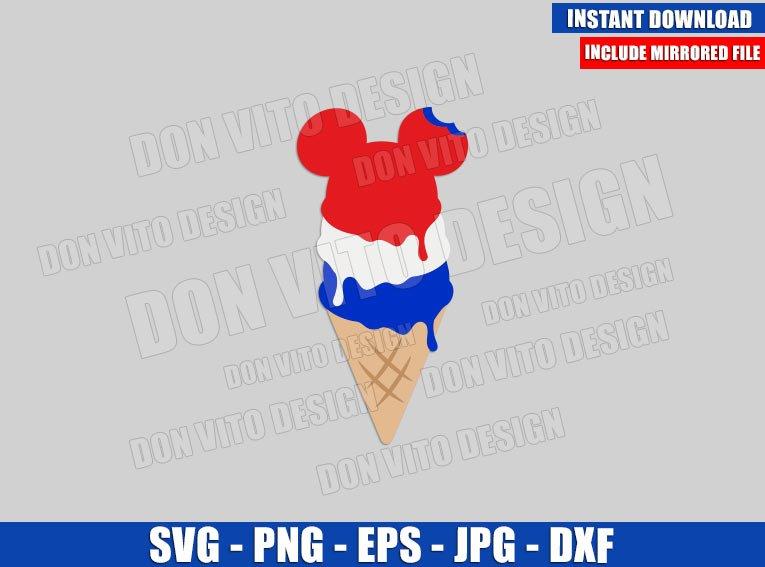 USA Mickey Ice Cream Cone (SVG dxf png) American Flag Snack Cut File Cricut Silhouette Vector Clipart - Don Vito Design Store