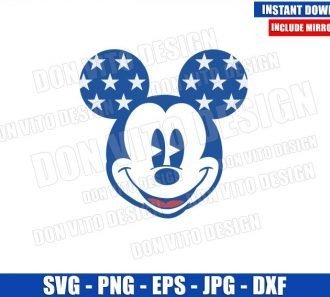 Patriotic Mickey Mouse Head (SVG dxf png) USA Independence Day Cut File Cricut Silhouette Vector Clipart - Don Vito Design Store