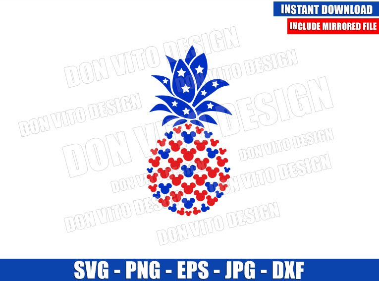 USA Pineapple Mickey Head (SVG dxf png) United States Fruit Ears Cut File Cricut Silhouette Vector Clipart - Don Vito Design Store